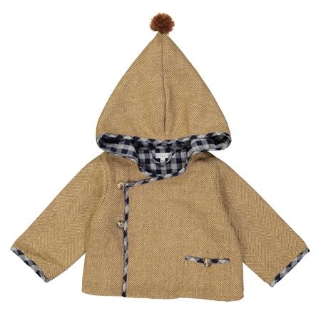Kid's Petite Lucette Renaud Jacket - Cumin Chevrons Navy Gingham