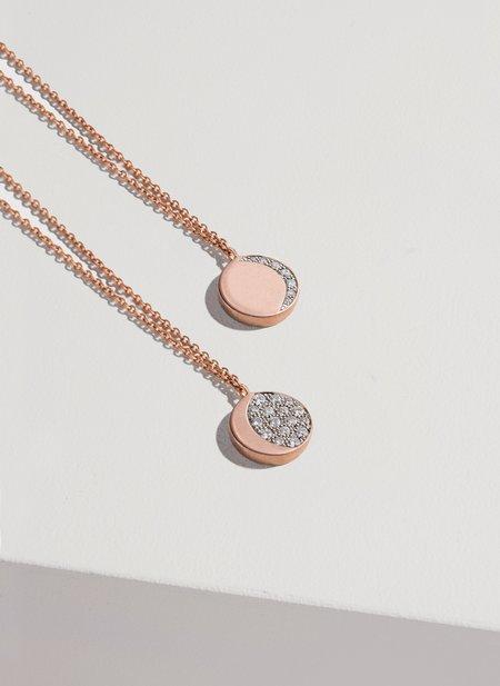 FINE Reversible Moon Phase Pendant jewelry - 18k rose gold/white diamonds