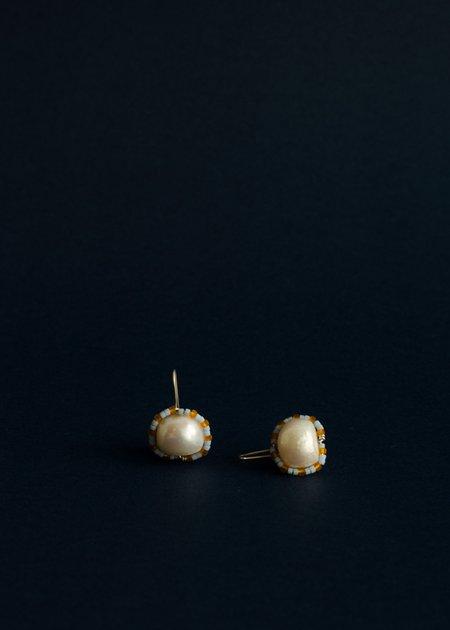 Zelda Murray pearl earrings - baby blue + mandarin