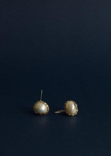 Zelda Murray pearl earrings - ice blue + rust