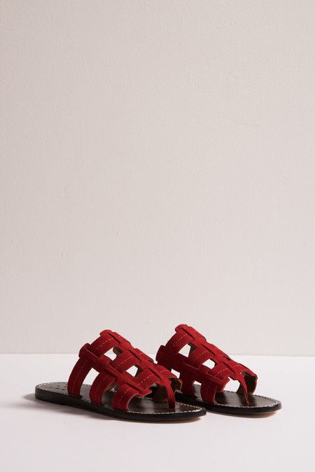 Trademark Cage Suede Sandal in Red