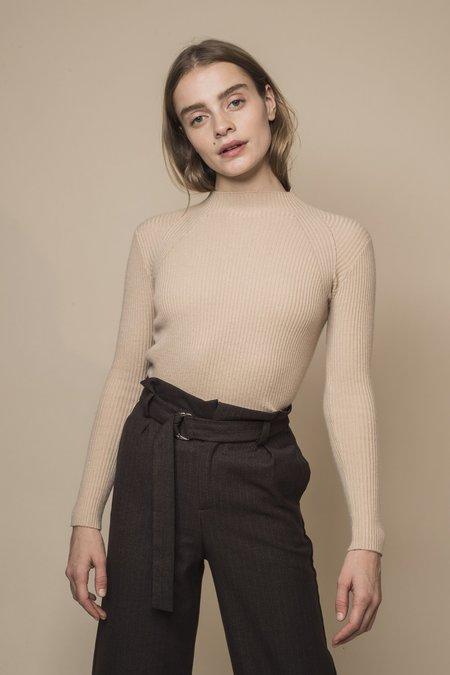 Opusion High-Neck Ribbed Cashmere Sweater - Khaki