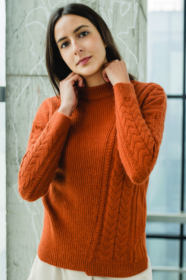 Opusion Cable-Knit Cashmere Jumper - Orange