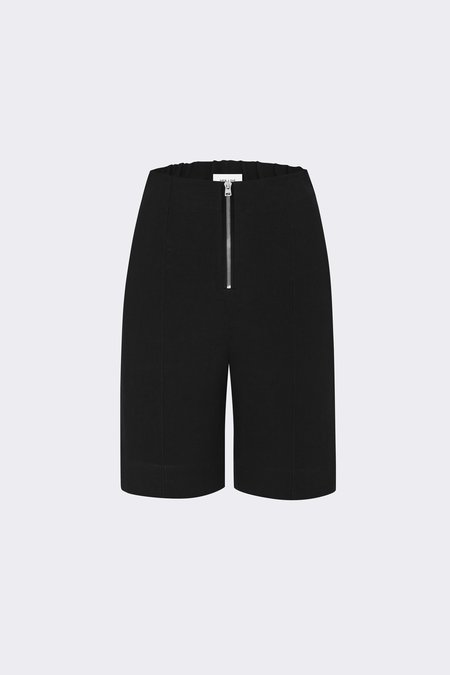Her Line Exposed Wide Leg Shorts - Heavy Linen - Black