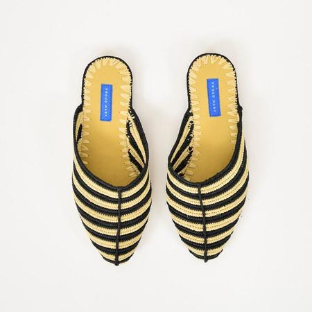 Proud Mary Black Stripe Raffia Slides - Black Stripe