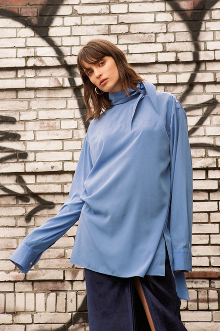 Andersson Bell High Neck Long Blouse - Blue