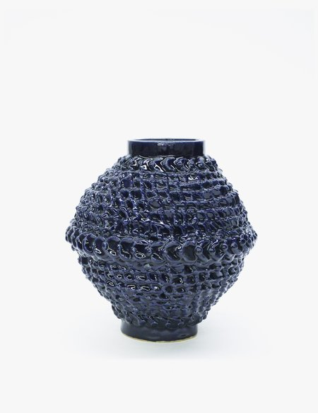 Bari Ziperstein Large Navy Dot Vase