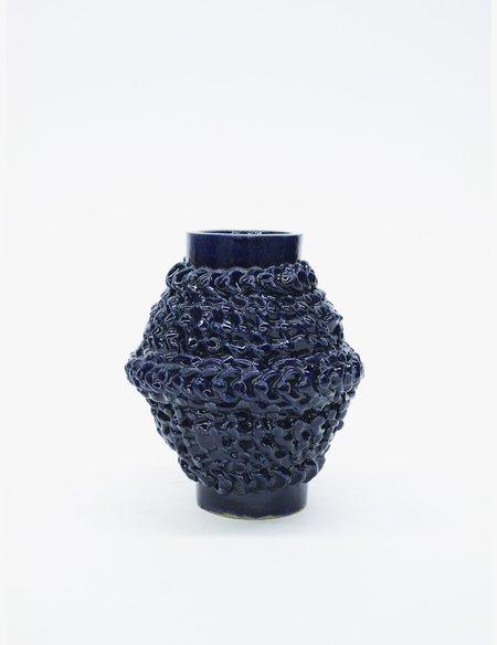 Bari Ziperstein Small Navy Dot Vase