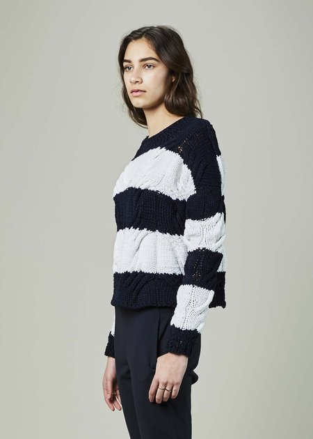 Spencer Vladimir Rugby Stripe Cable Knit Sweater