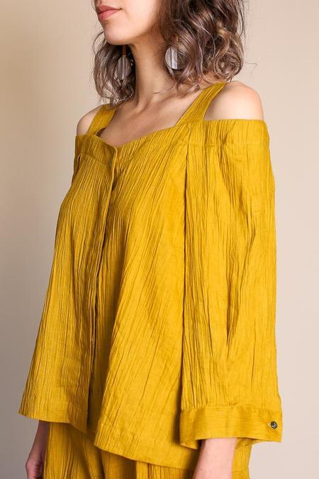 Sayaka Davis Cropped Shoulder Shirt - Yellow Green