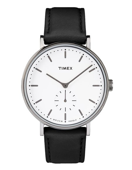 Timex Fairfield Sub-Second Watch - Silver-Tone Black/White
