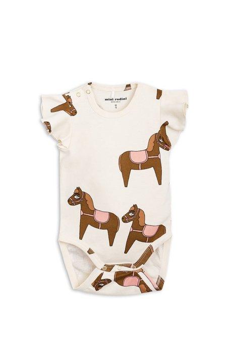 Kids Mini Rodini Horse Print Body With Frill Sleeve - White/Pink