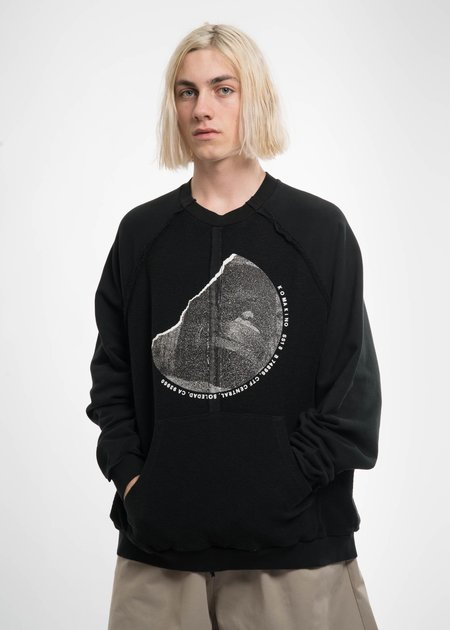 Komakino Black Inside-Out Raglan Sweatshirt
