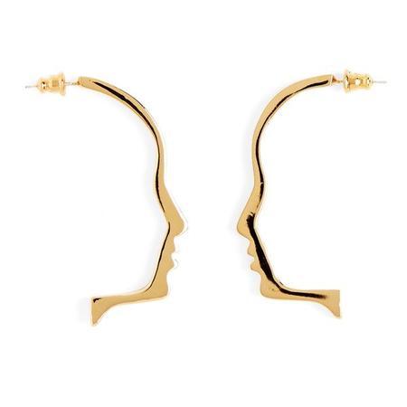 Lady Grey Silhouette Earrings Gold