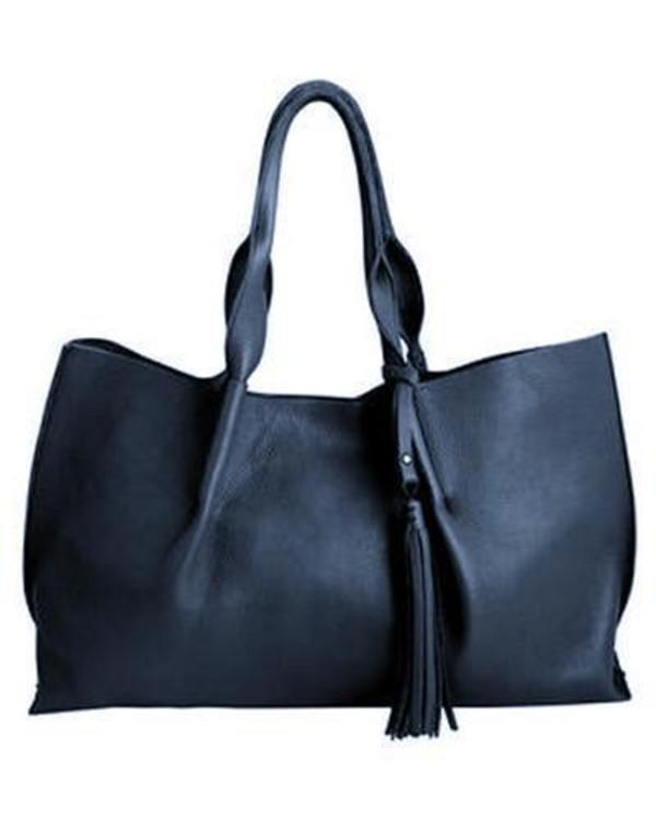 Isabel tote in navy pebble leather with leather tassel