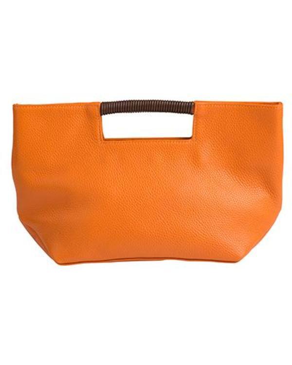 Oliveve Ella Wrap Handle Clutch In Papaya Pebble Cow Leather