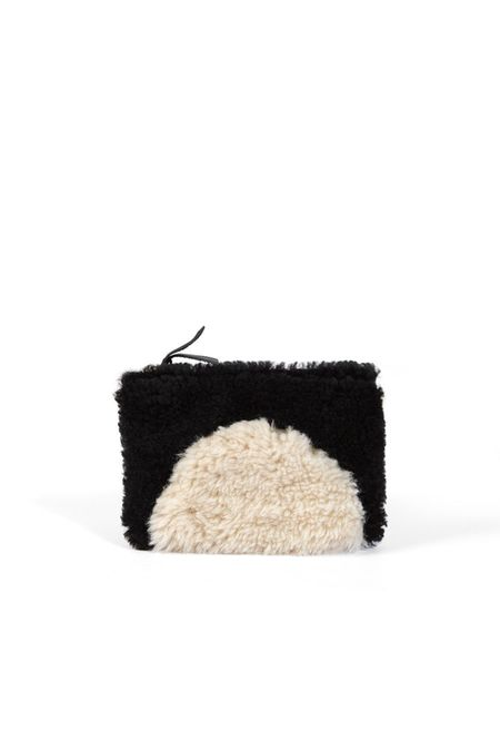 Primecut Patchwork Zipper Wallet - Black Tan Sheepskin