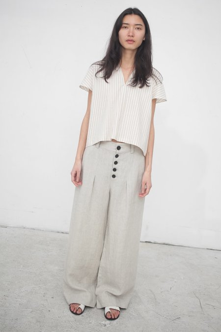 Creatures of Comfort Harper Pant in Relaxed Linen Wheat
