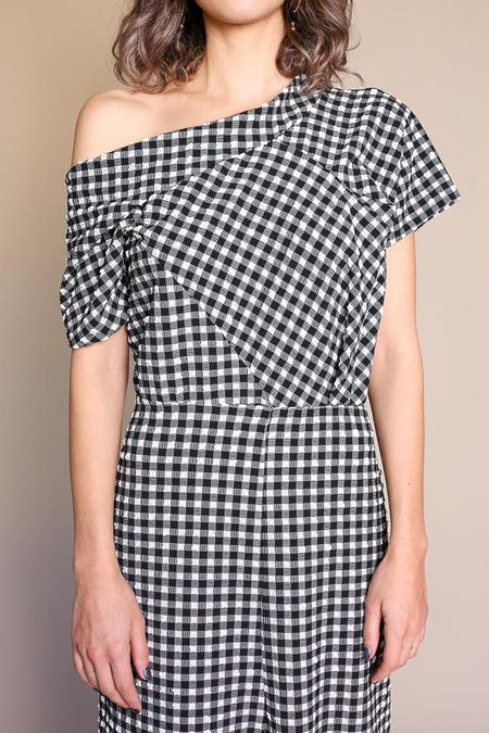 Rachel Comey Pout Dress in Black Gingham Stretch Jacquard