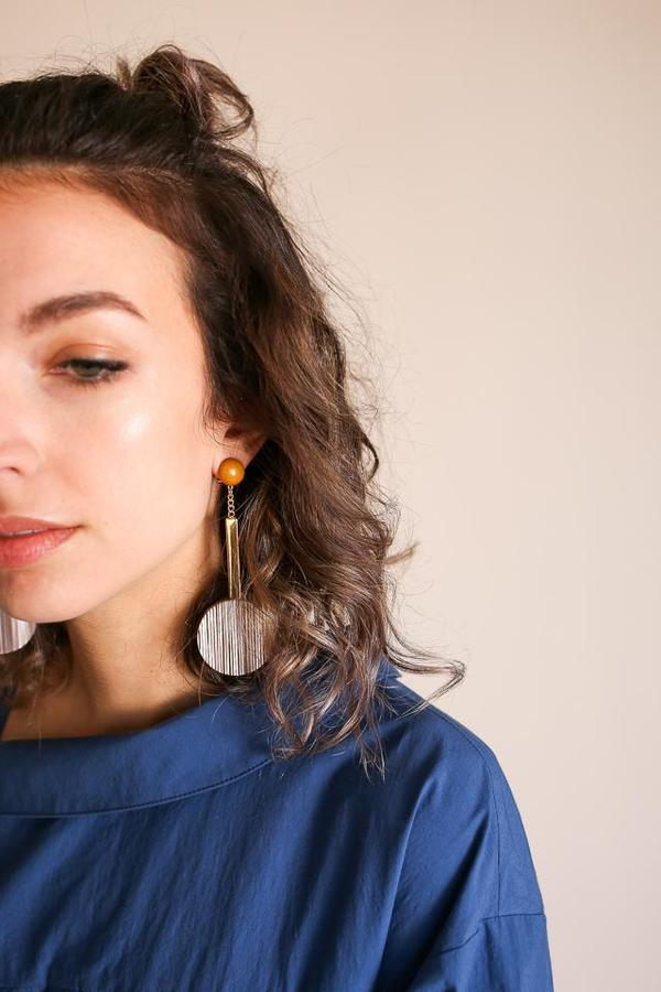 Rachel Comey Jo Earring in Beige Stripe Gold