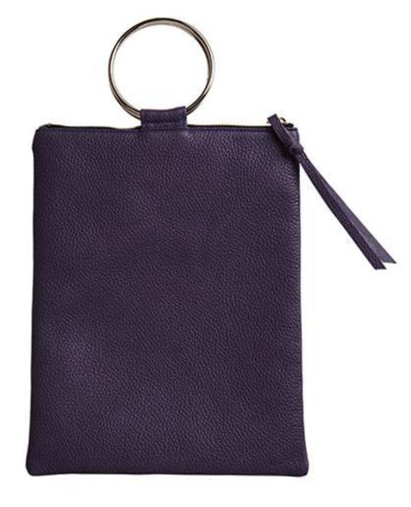 Oliveve Laine Silver Ring Bag in Black Pebbled Leather