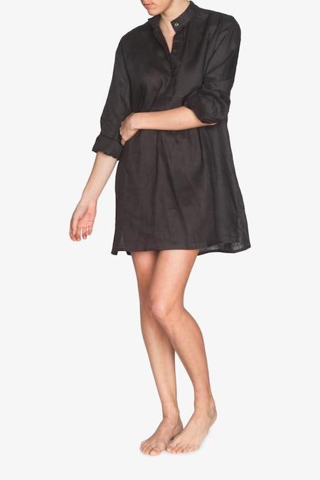 The Sleep Shirt Short - Black Linen