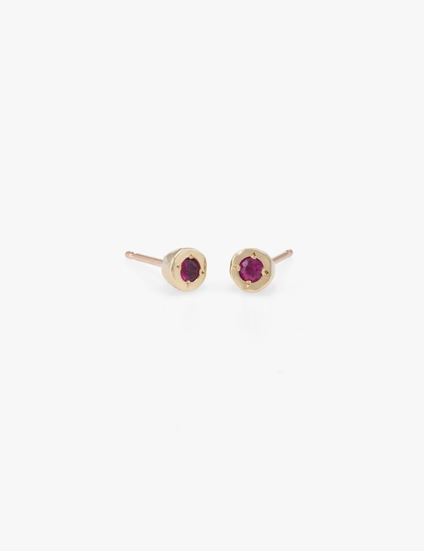 Kathryn Bentley Tiny Dot Studs in Ruby