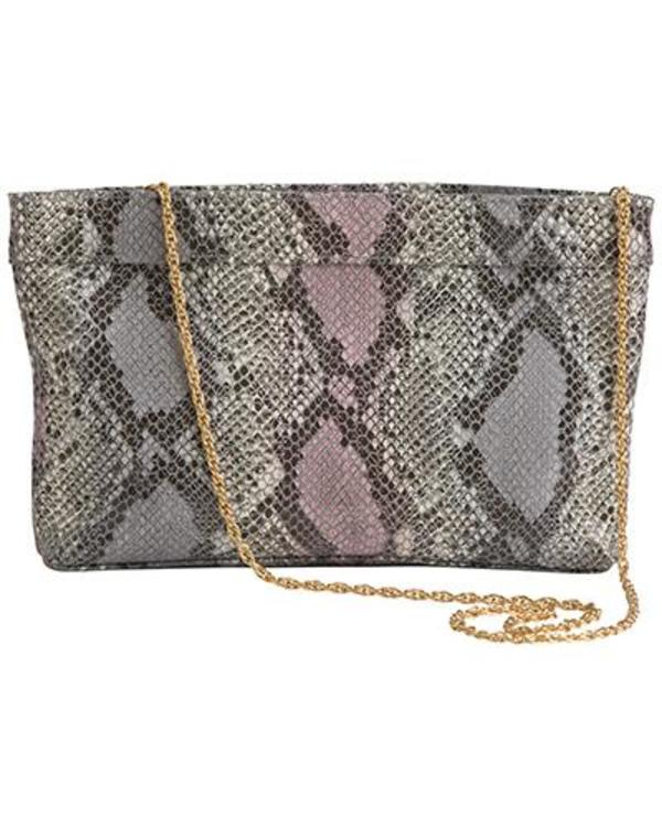 Oliveve Lola Frame Clutch in Pink Cobra Embossed Cow Leather With Gold Chain