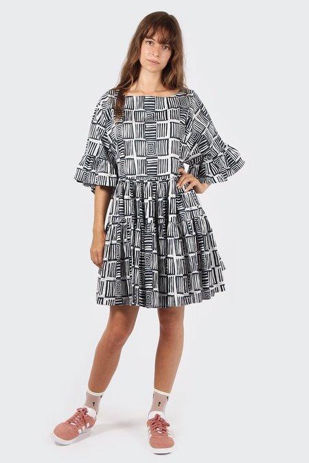VERNER X Lisa Waup Frill Dress - black/white