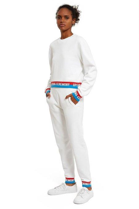 Opening Ceremony Elastic Logo Crop Sweatshirt - White
