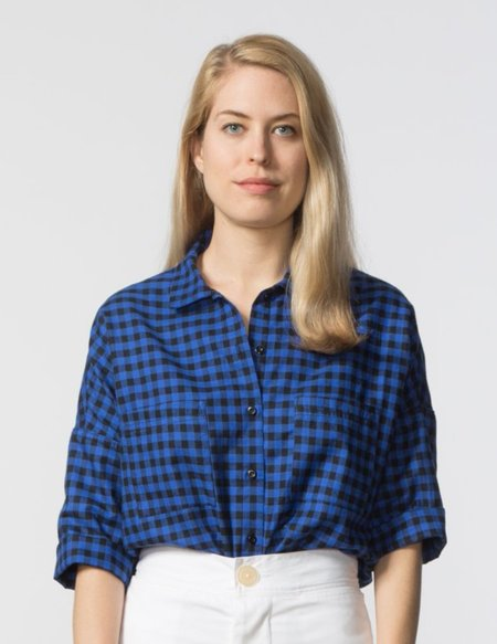 SBJ Austin Stephanie Top - Blue/Black Check