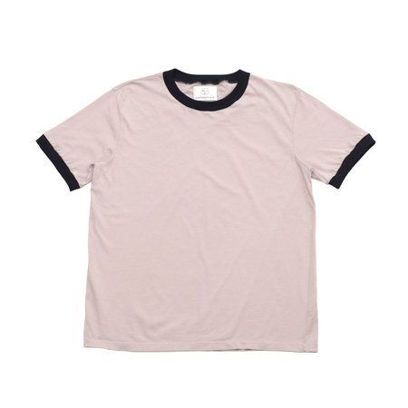 Olderbrother Ringer Tee - Pink Hibiscus and Indigo