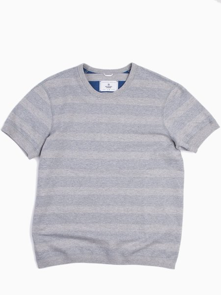 Reigning Champ Striped Terry Short Sleeve Reversible Crewneck - Heather Grey/Court Blue