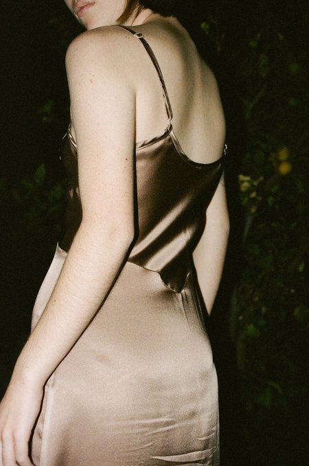 Botanica Workshop Vetiver Slip Dress in Cocoa