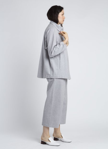 Kaarem Light Grey Eucalyptus Front Zip Collar Jacket