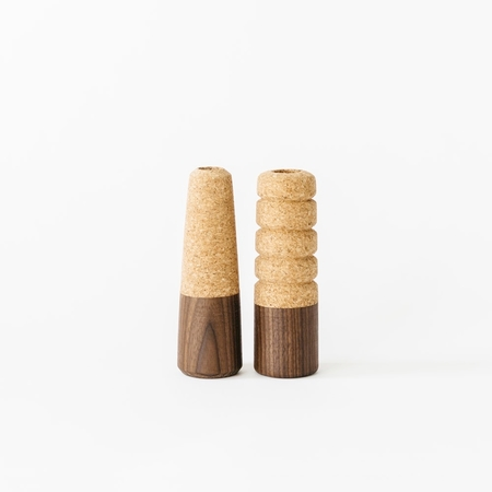 Melanie Abrantes Cork + Wood Candle Holders