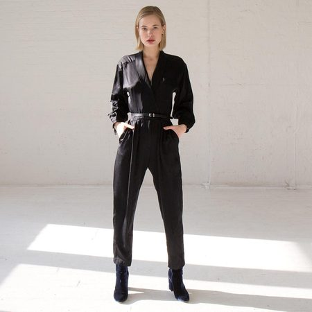 Found By Kindred Black Vintage Satin Jumpsuit