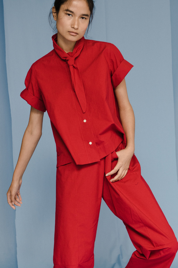 Caron Callahan WESLEY SHIRT in Red Poplin