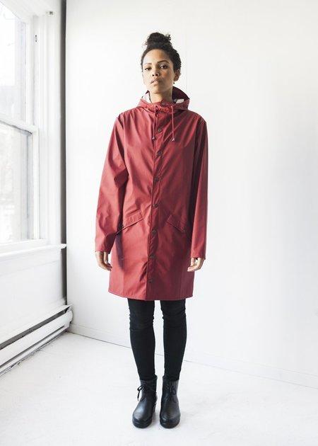 Unisex Rains Long Jacket in Scarlet