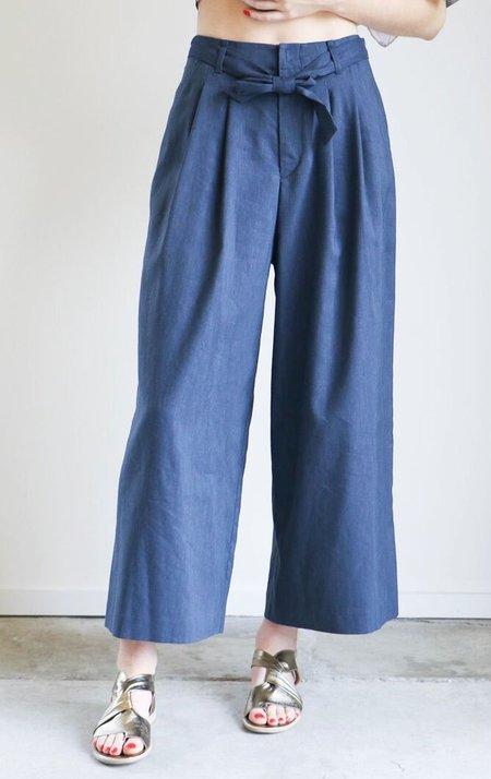 Pas de Calais Side Belted Pant in Blue