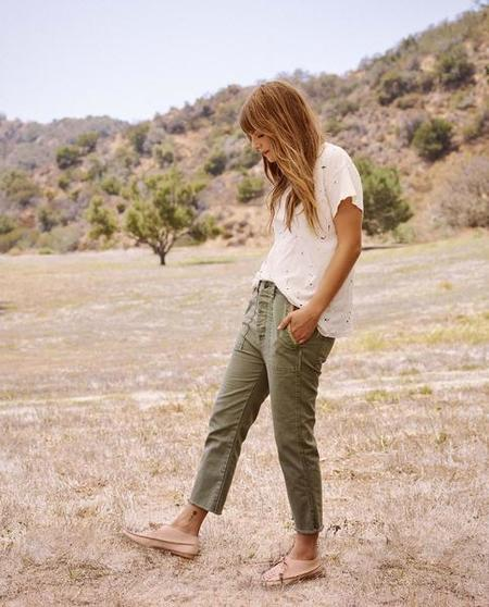The Great. Straight Leg Army Pant with Ruffle Detail