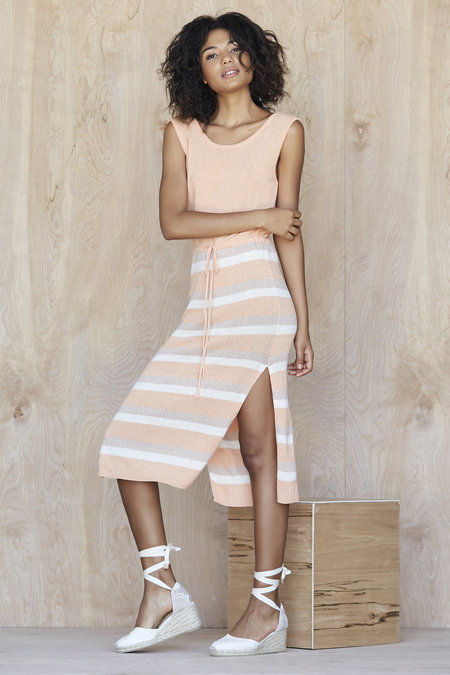 Callahan Solid & Stripe Lowback Drawstring Dress - Multi