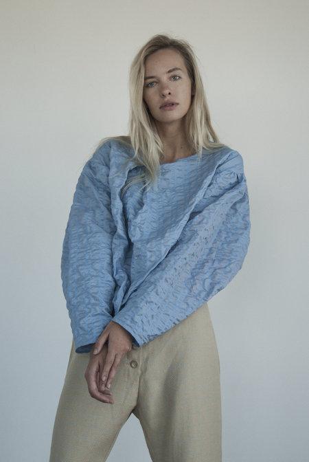 KM By Lange Vintage Babushka Vintage Fabric Blouse Blue Cloud