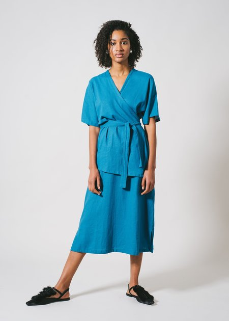 REIFhaus Loren Wrap Dress in Ocean
