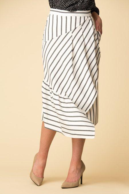 Tibi Lucci Stripe Ruffle Skirt