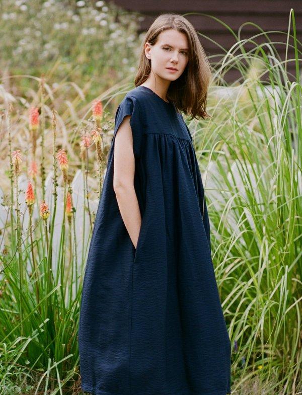 Sunja Link Yoke Dress - Black