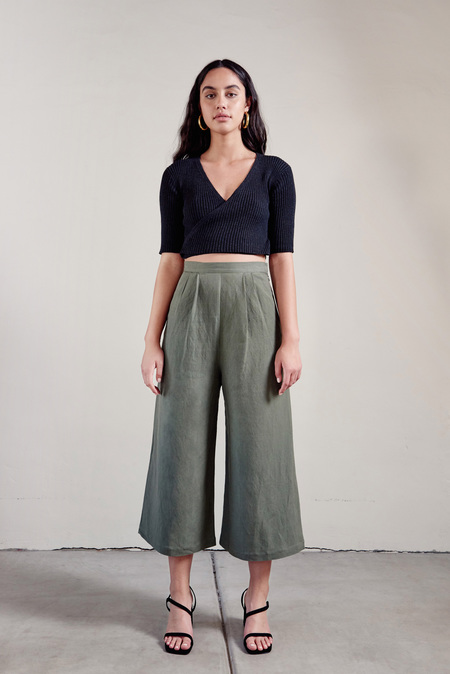 First Rite Crop Culotte in Sage