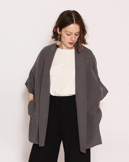 7115 by Szeki Short Sleeves Kimono Jacket in Gray