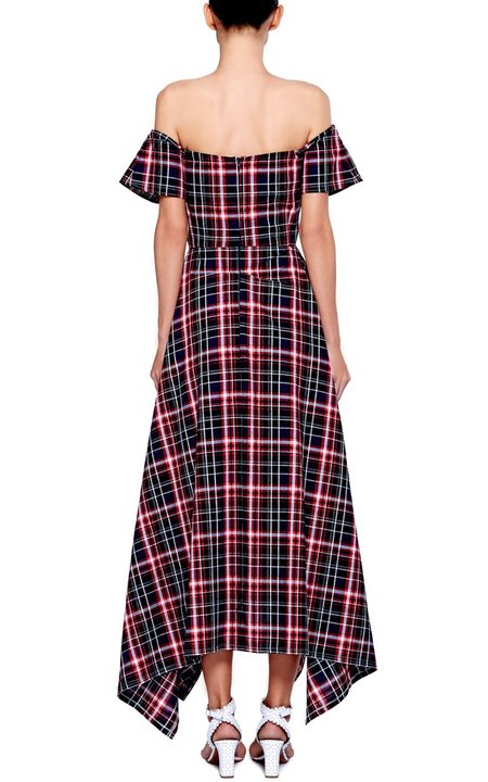 Christine Alcalay Madras Off The Shoulder Asymmetrical Hem Dress