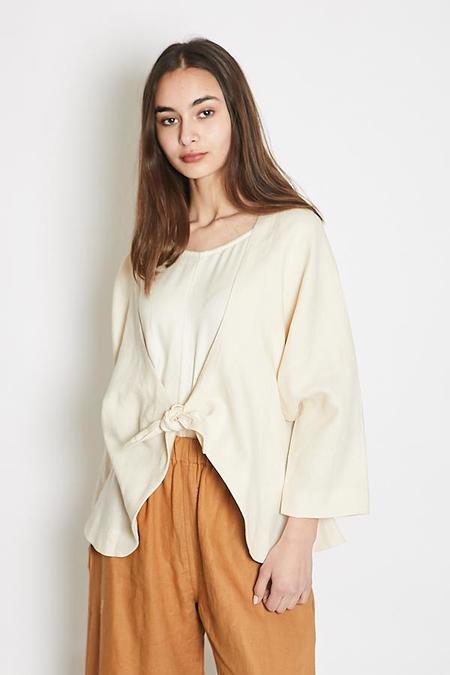 Lauren Winter Knot Blazer - Cream Linen